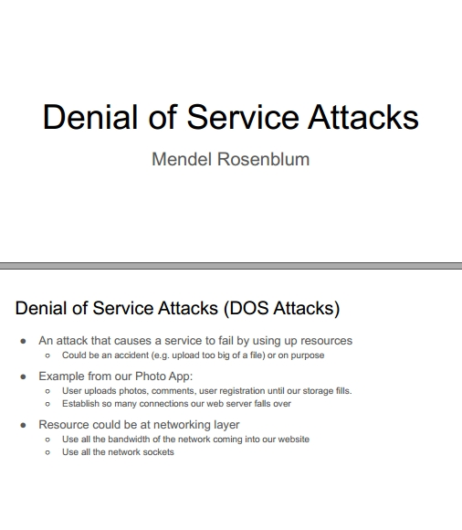 Книга на английском - Web Applications Development, Stanford Lectures: Denial of Service Attacks (DOS Attacks) - обложка книги скачать бесплатно