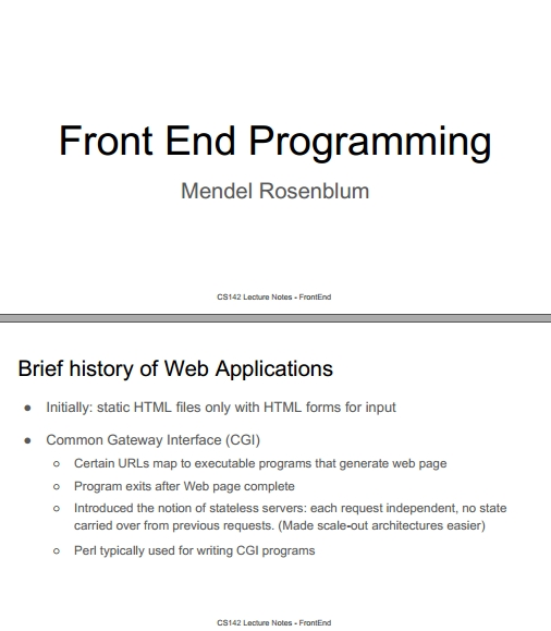 Книга на английском - Web Applications Development, Stanford Lectures: Front End Programming - обложка книги скачать бесплатно