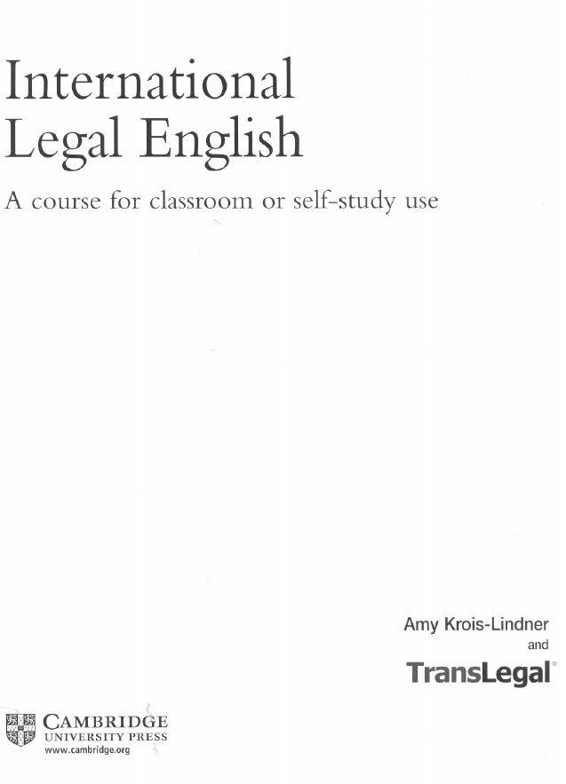ILEC - International Legal English. A course for classroom or self-study use